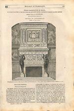 Cheminée François Ier Château de Fontainebleau/ château de Villeroy GRAVURE 1843