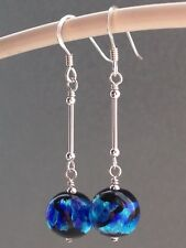 Beautiful Vintage Style Black & Blue Foil Glass Sterling Silver Drop Earrings