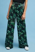 ANTHROPOLOGIE Elevenses High Rise Satin Floral Wide Legs Trouser Pants NwT 0 2