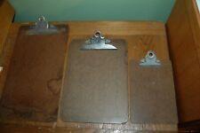 "3 vintage wooden masonite Clipboards 15.5"", 12.5"", 9"""