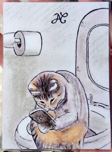 ORIGINAL ART Sketch Card Portrait Fun Cat Cute Sit Toilet iPhone Caricature ART