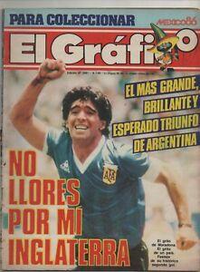 DIEGO MARADONA EL GRAFICO MAGAZINE ARGENTINA VS ENGLAND WORLD CUP MEXICO 1986