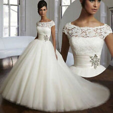 Crystal/Diamante Lace Boat Neck Wedding Dresses