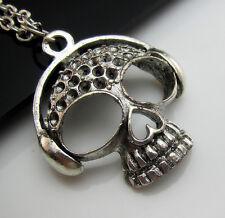 Free Tibetan Silver Listen Music Skull Punk Rock Charm Pendant chain Necklace