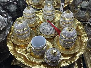 Handmade Solid Copper Turkish Coffee Espresso Serving Set Swarovski Coated