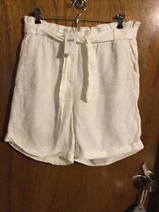J. Jill White Medium Paper Bag Style Linen Love Shorts NWT