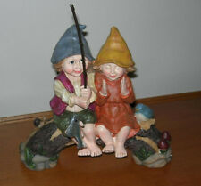 CUTE PIXIE FISHING PAIR BOY AND GIRL ON BRIDGE ~YARD DECOR NEW SALE