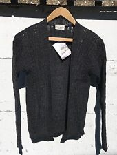 Alderney Shepley Yarns British Pure Wool Cable Knit Cardigan Grey Size M