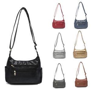 New Women Multi-Pocket Vegan Leather Fashion Crossbody Handbag Shoulder Side Bag