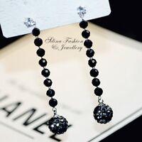 18K White Gold Filled Simulated Diamond & Agate Black Beaded Ball Drop Earrings