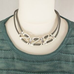 Silver Metal Luxury Look Statement Necklace with gems from Timeless Season