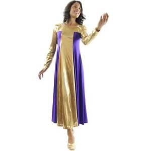 Danzcue Womens Metallic Color Block Long Sleeve Praise Dance Dress