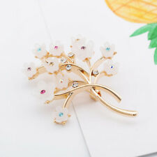 Gold Plated Brooch Pin Lady Gift Charms Resin Flower Tree Brooches Rhinestone