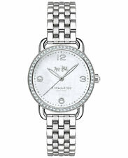 NWT Coach WOMEN Silver Tone Delancey Mother of Pearl Crystal Watch 28mm 14502477