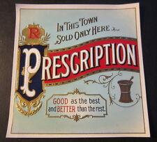 Original Old Antique - PRESCRIPTION - Outer CIGAR BOX LABEL - Pharmacy Medical