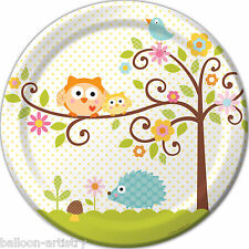 """8 Happy SWEET TREE Animals Baby Shower Party Large 9"""" Paper Plates"""