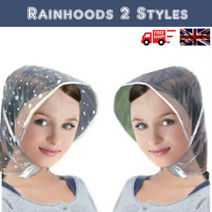 Clear/Patterned Rain Hat Ladies Polka Dot Hair Protector Hood Bonnet Tie Strings