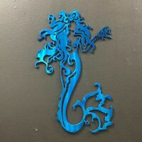 Mermaid X Metal Wall Art Skilwerx Colors 14 x 9 Ocean Nautical Beach Marine sea