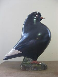 vintage 1980's best-in-show BLACK PIGEON sculpture - ceramic clay trophy prize