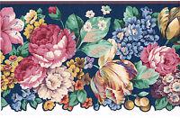 Victorian Roses Tulip Floral Flower on Navy Blue Sculptured Wallpaper Border