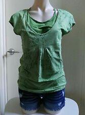 Ladies Esprit Green Top Botanical Print Size UK L Women Tunic