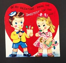 Vintage 1950s Valentine's Day Card Boy and Girl with Candy Lollipops