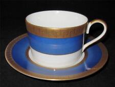 Faberge ATHENA Cup & Saucer Set, Blue Border, Gold Greek Key