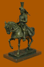 Armored Medieval Knight on Horse Bronzed Sculptural Statue Signed Original