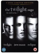 The Twilight Saga Triple Pack Trilogy DVD Kristen Stewart Robert Pattinson UK R2