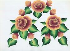 PEACH BUDS ROSES GARDEN FLOWER SHABBY GARDEN TOLE CHIC FOLK NAIVE PAINTING