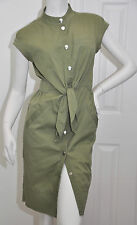 MARC by MARC JACOBS Cotton Shirt DRESS Olive Army Green Tie Waist Midi Sheath 2