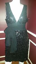 *NEW* BCBG MAXAZRIA BLACK  EVENT PARTY WEDDING SEQUINS SILK DRESS Sz L Rt $374