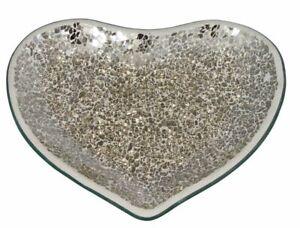Champagne Mosaic Heart Shaped Plate