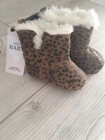 M & S Baby leopard Print Leather Pram Shoes With Cosy Lining Size 3-6 Month BNWT