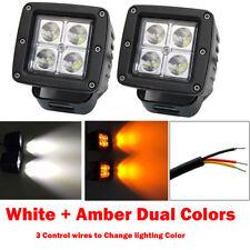 2X 3INCH 24W Amber White Dual Colors LED Work Light Spot Cube Pod Fog Head Lamp