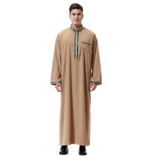 Fashion Stand Neck Decal Muslim Robes For Men - Brown