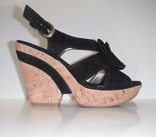 NEW Sofft Black Suede Odelle Open Toe Wedge Shoes Sz 5