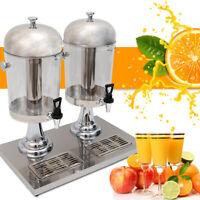 Commercial Double Beverage Dispenser (8L x 2) Juice Drink Cooler Machine Durable