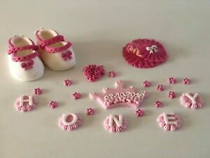 Christening baby girl shoes cake topper decoration 3D handmade 100% edible pink