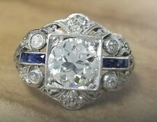 cut diamond Platinum ring circ 1920's New Listing2.03ct vinrage filigree natural old mine