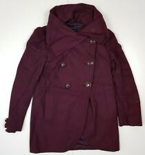 H9 Ladies French Connection BURGUNDY Wool Swing Designer Mid Length Coat Size 8