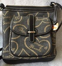 DOONEY & Bourke Signature Heart Letter  Black Brown Crossbody Letter Carrier Bag