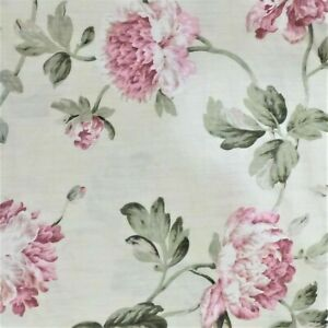 """VINTAGE RETR0 LARGE PINK FLORAL COTTON 20"""" X 16"""" CRAFT FABRIC MATERIAL SEWING e4"""