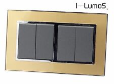 I LumoS AS Gold Mirror Glass & Grey 13A UK Single/Double Socket & Light Switches