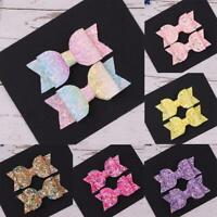 2PCS Glitter Bow Hair Clips Alligator Hairpins Barrettes Girls Accessories