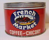 Vintage 1950s FRENCH MARKET KEYWIND COFFEE TIN 1 POUND NEW ORLEANS LOUISIANA LA