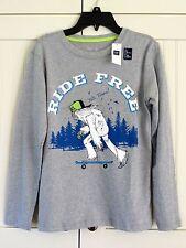 GAP Kids Boys Sz 8-9 Gray Skater RIDE FREE Long Sleeve Shirt NEW