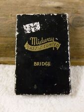 Vtg Midway Plastic Coated Bridge Playing Cards -Vase Of Roses