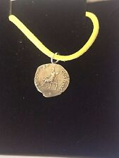 "Denarius Of Nero Pewter Coin WC21 Made From Pewter On 18"" Yellow Cord Necklace"