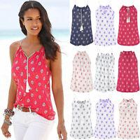 Women's Sleeveless Halter Neck Vest Tank Tops Floral Loose T-Shirt Beach Blouse